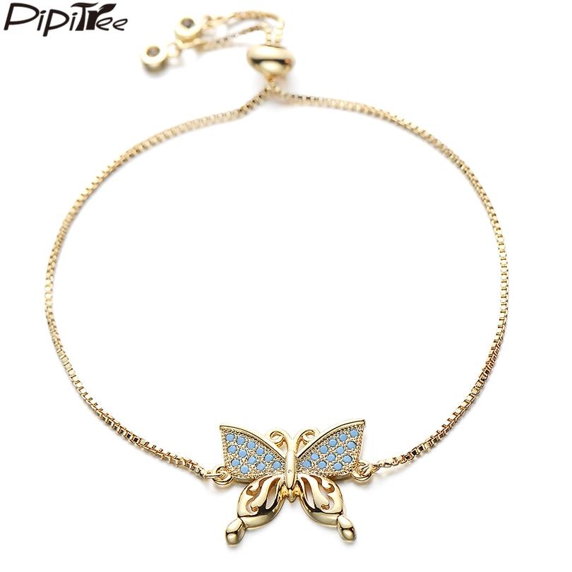 [해외]Pipitree Copper AAA Blue Cubic Zirconia Butterfly Bracelet Femme Adjustable Chain Link Women Bracelets Gold Color Jewelry Gift/Pipitree Copper AAA