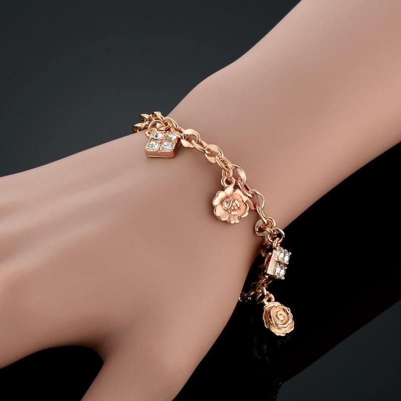 [해외]Minimalist Gold Color Small Flower Link Chain Bracelets For Women Friendship Cubic Zircon Charm Bracelets Bangles Jewelry/Minimalist Gold Color Sm