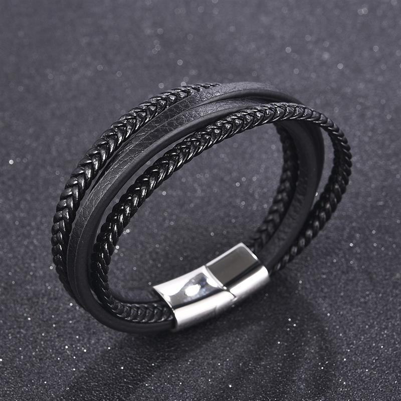 [해외]YAKAMOZ Punk Multi-layer  Genuine Leather Men Braided Bracelet Stainless Steel Magnetic Clasp Wristband Male Fashion Jewelry/YAKAMOZ Punk Multi-la