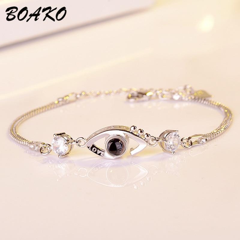 [해외]BOAKO 100 Languages I Love You Projection Bracelets For Women Romantic Love Memory Charm Bracelet Adjustable Evil Eye pulseras/BOAKO 100 Languages