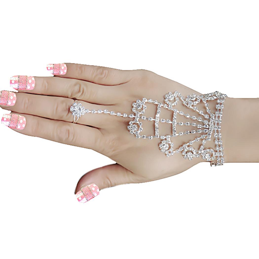 [해외]Fashion Jewelry Beautiful Rhinestone Crystal Chain Linked Finger Loop Bracelet Elegant Women`s Wire hand Harness /Fashion Jewelry Beautiful Rhines