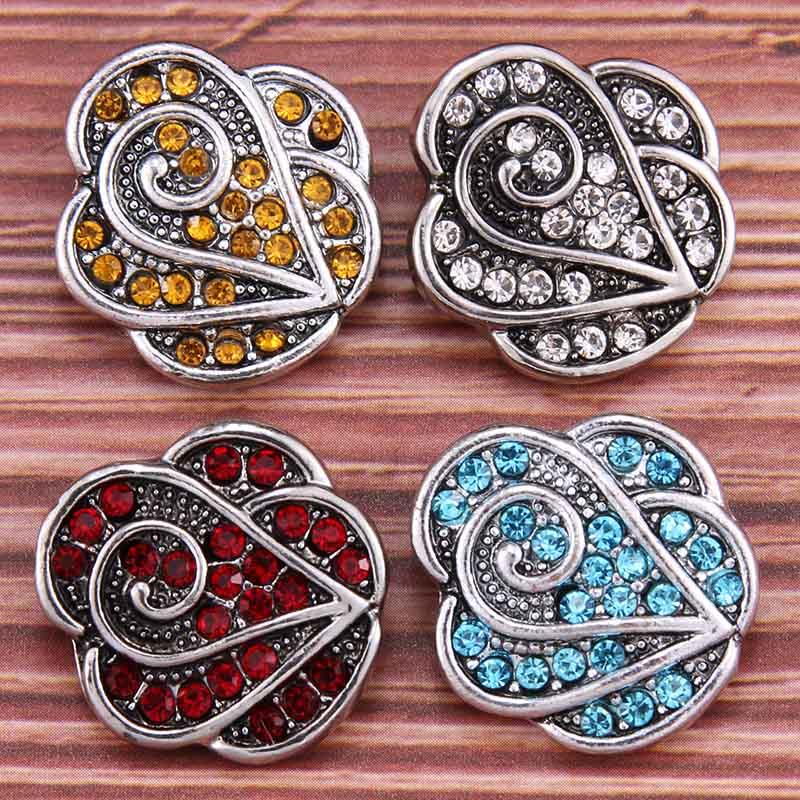 [해외]10pcs/lot New 18mm Snap Jewelry Mixed Crystal Flower Metal Rhinestone Snap Buttons Fit Snap Bracelet Bangles Necklaces/10pcs/lot New 18mm Snap Jew