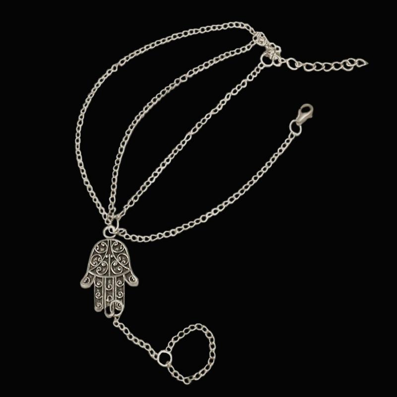 [해외]New Minimalsm Slim Silver Chain Hand of Fatima Charm Bracelets For Lady Women`s Cute Romantic Bracelets Jewelry/New Minimalsm Slim Silver Chain Ha