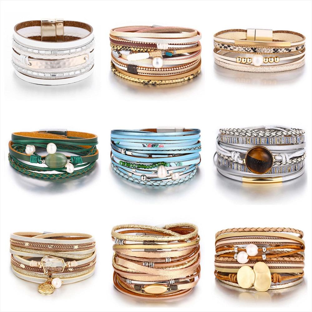 [해외]17KM New Vintage Pearl Beads Leather Bracelets & Bangles For Women 2019 Handmade Multiple Layer Wristband Bracelet Jewelry Gifts/17KM New Vint