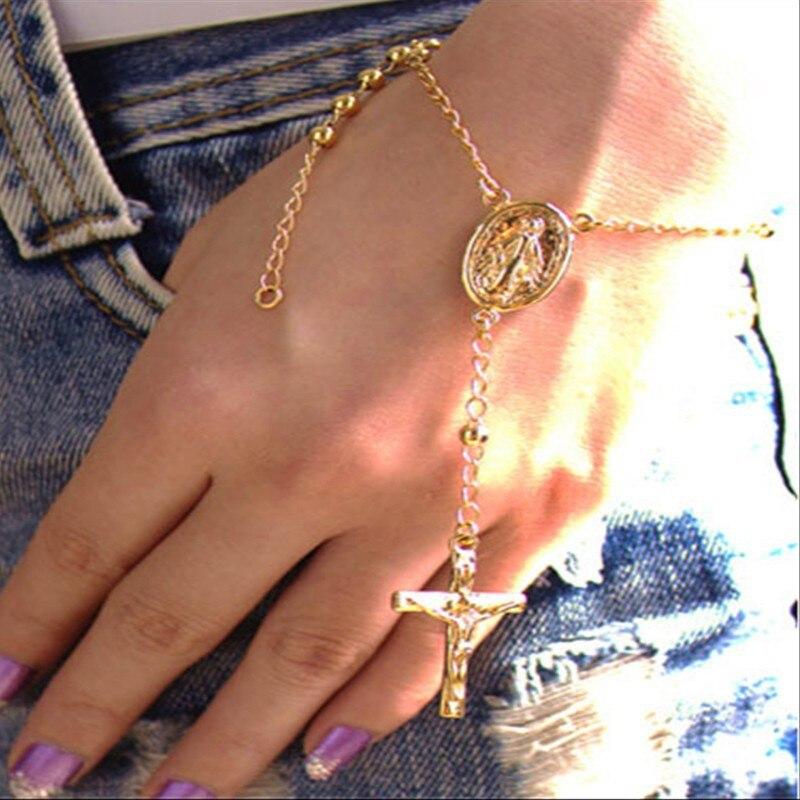 [해외] Fashion Jesus Cross Charm Bracelets For Women Boho Vintage Christian Pendant Chain Bracelet Party Jewelry Wholesale/ Fashion Jesus Cross Charm Br