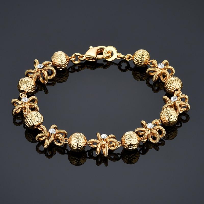 [해외]Gold Color Small Bead Link Chain Bracelets For Women Friendship Beaded Charm Bracelets Bangles Jewelry/Gold Color Small Bead Link Chain Bracelets