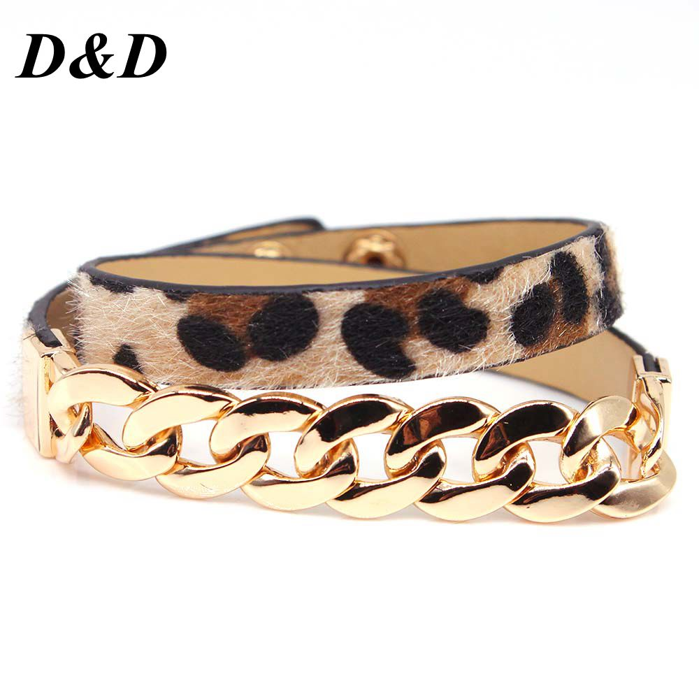 [해외]2019 Fashion New Retro Leopard Print Accessories Double Surround Leather Bracelets UniBangles Pulseiras Jewelry/2019 Fashion New Retro L