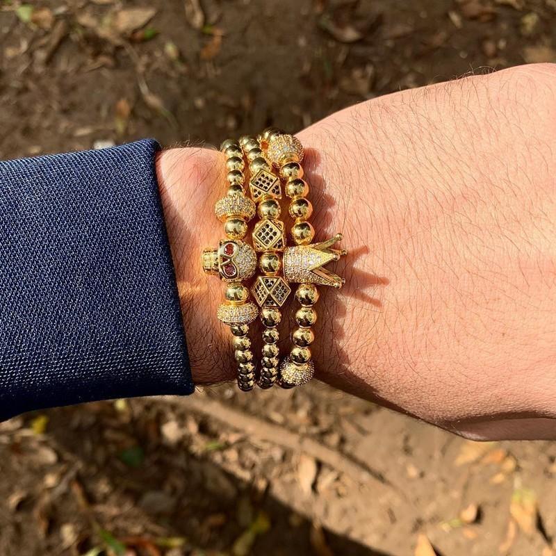 [해외]NAIQUBE 2019 Skull Men Bracelet Pave CZ New Fashion Luxury Crown Bracelet Copper Beads Braided Bracelet Men Women Jewelry Gift/NAIQUBE 2