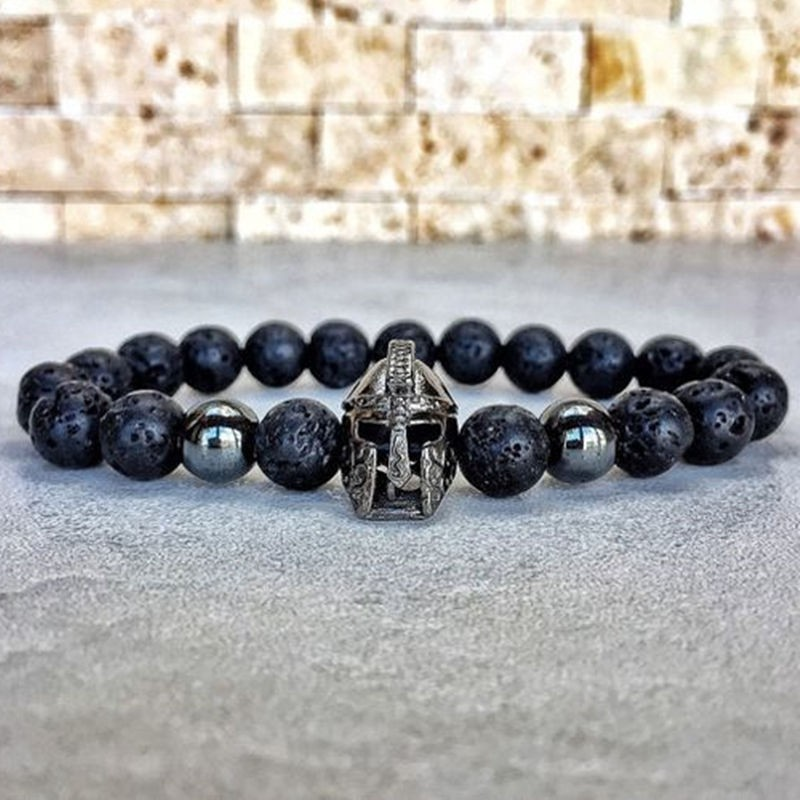 [해외]HOT Fashion charm bracelet men Spartan Warrior Helmet lava stone beaded bracelet for men women simple Jewelry Pulseira hombres/HOT Fashi