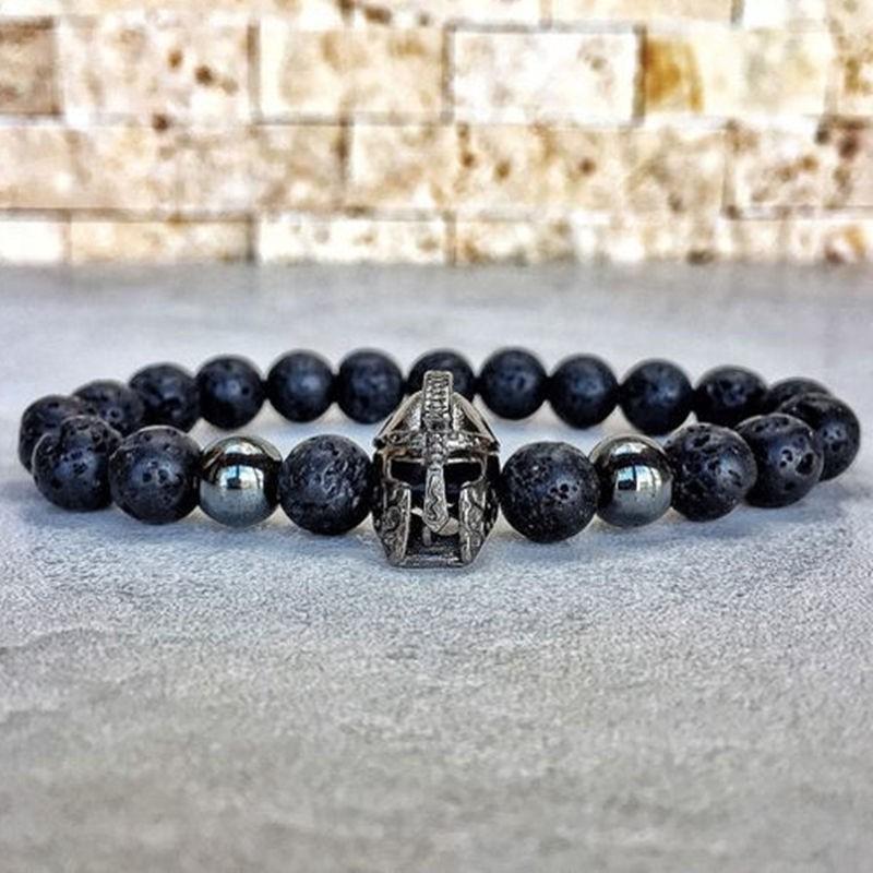 [해외]HOT Fashion charm bracelet men Spartan Warrior Helmet lava stone beaded bracelet for men women simple Jewelry Pulseira hombres/HOT Fashi