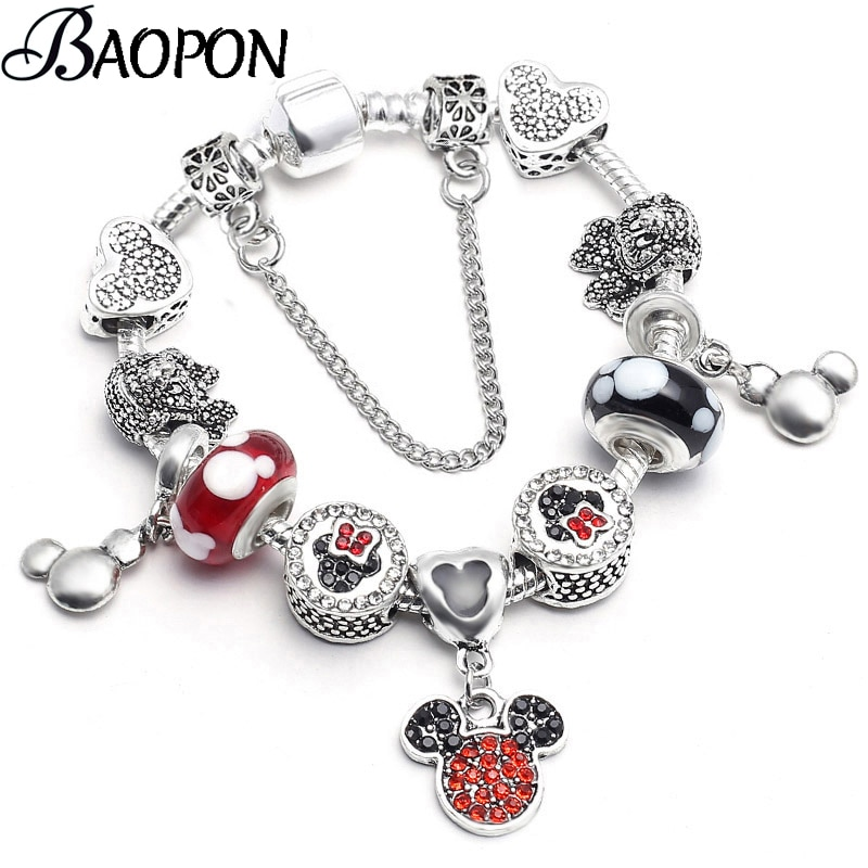 [해외]2019 Crystal Mickey Minnie Beads Charm Bracelets & Bangles Silver Color Fine Bracelets for Women Jewellery Pulseira Feminina/2019 Crysta
