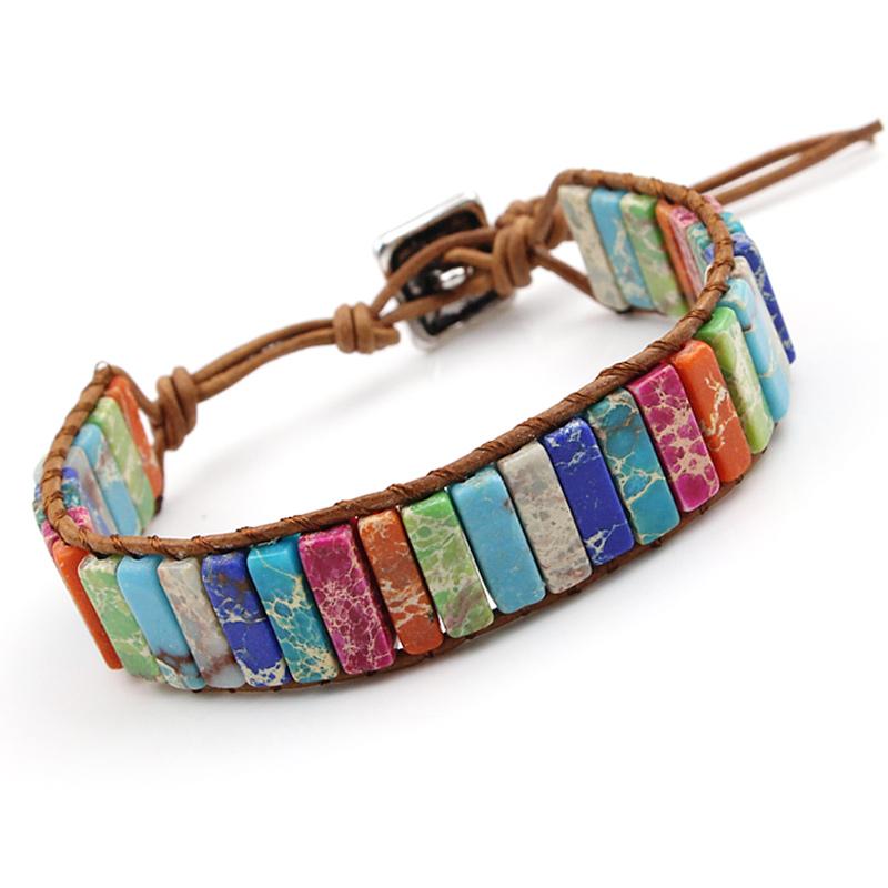 [해외]VILLWICE Handmade Chakra Bracelet Multi Color Natural Stone Tube Beads Leather Wrap Couples Bracelets Creative Jewelry Gifts/VILLWICE Ha