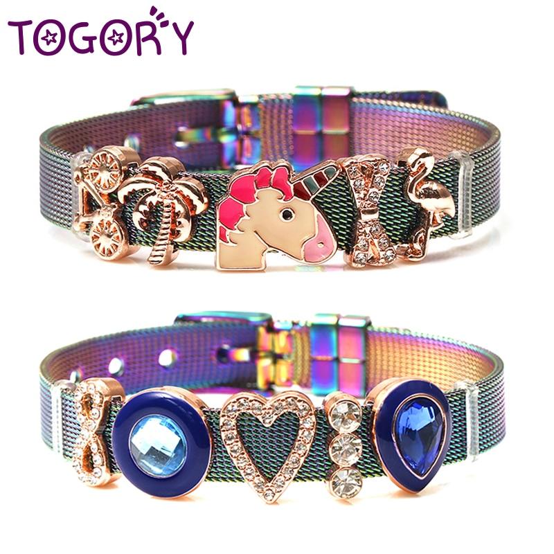 [해외]TOGORY 2019 New Fashion Jewelry Stainless Steel Mesh Bracelets BanglesUnicorn Charms Fine Bracelets For Women Kids Gift/TOGORY 2019 New