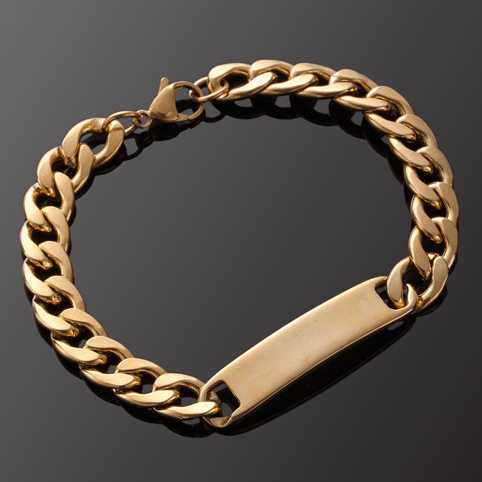 [해외]남성용 스테인레스 스틸 팔찌 / 여성 골든 & amp; 실버 팔찌 패션 참 남자 팔찌 스테인레스 보석 B020252/Stainless Steel bracelets for Men/Women Golden & Silver bracelets Fashion