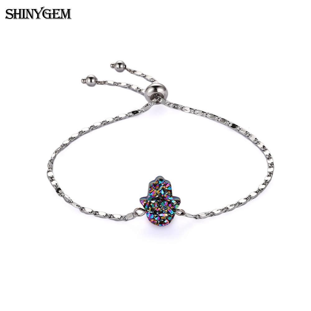 [해외]ShinyGem Fatima Hand Crystal Charm Bracelet Adjustable Silver Link Chain Bracelet Rainbow Natural Druzy Stone Bracelet For Women/ShinyGem Fatima H