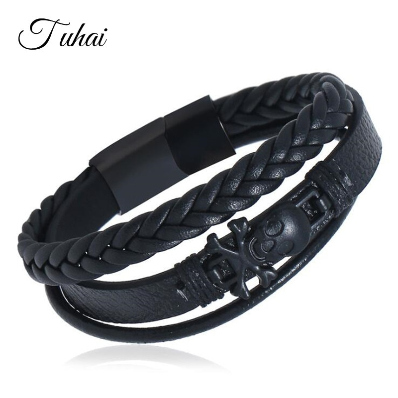 [해외]Male Multi-layer Bracelet Jewelry Black Skull Skeleton Braided Leather Bracelets BanglesStainless Steel Magnetic Clasp /Male Multi-layer Bracelet