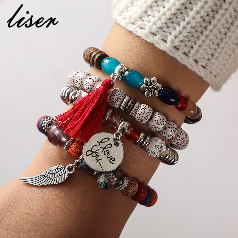 [해외]Crystal Bead Bracelets For Women Vintage Bracelet Female Jewelry Tassel Natural Stone Charms Wristband Gift Pulseira Feminina/Crystal Bead Bracele