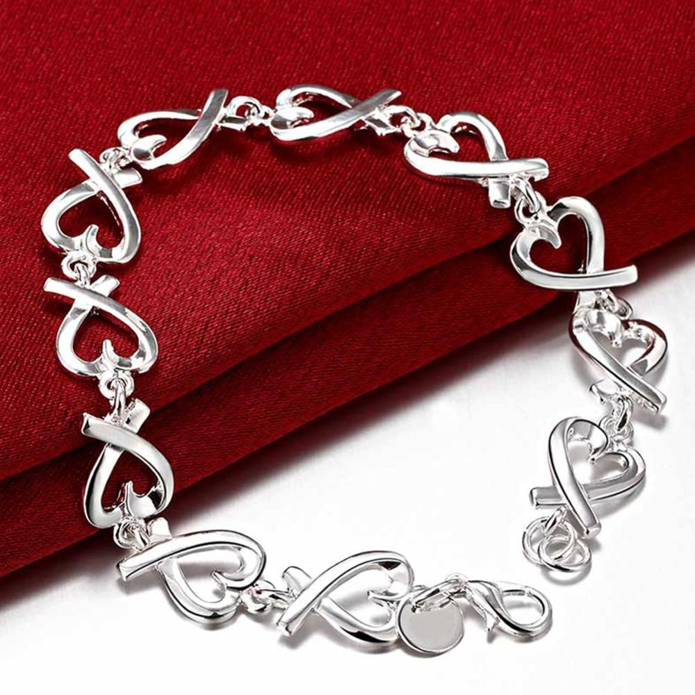 [해외]Fashion 925 Sterling Silver Jewelry Heart Bracelet For Women Wedding/Fashion 925 Sterling Silver Jewelry Heart Bracelet For Women Wedding