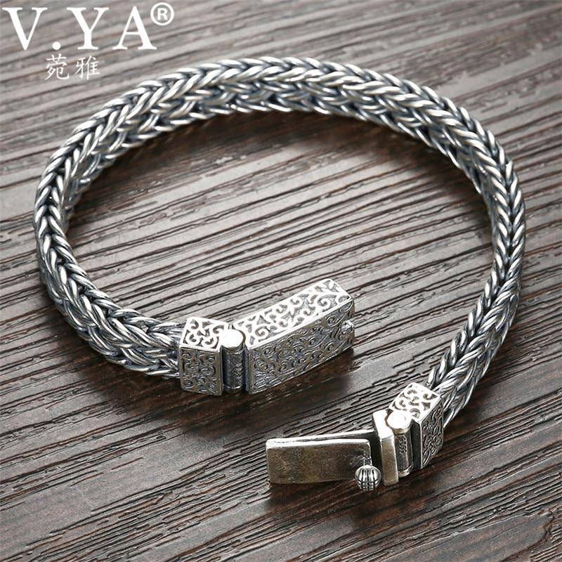 [해외]V.YA Handmade Heavy Silver Bracelet 925 Sterling Silver Bangles Bracelets Men`s Biker Jewelry bileklik 17cm - 22cm/V.YA Handmade Heavy Silver Brac