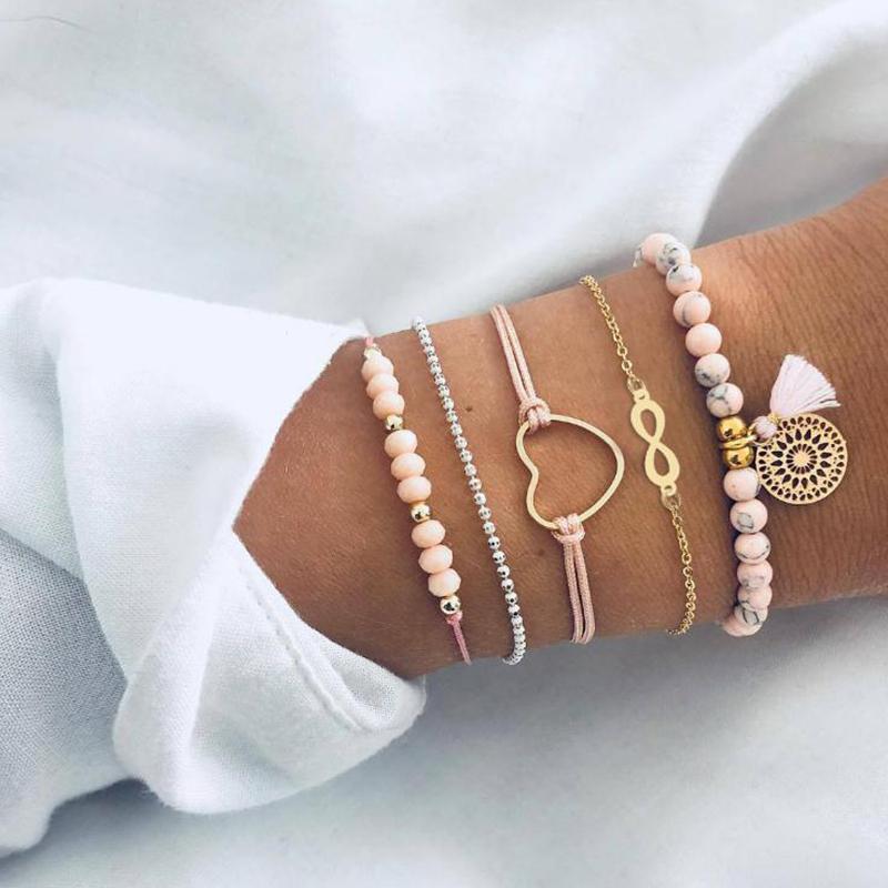 [해외]Bohemian Handmade Pink Crystal Beads Bracelets for Women Vintage Fashion Heart Tassel Bracelet Bangles Jewelry Bijoux AB239/Bohemian Handmade Pink