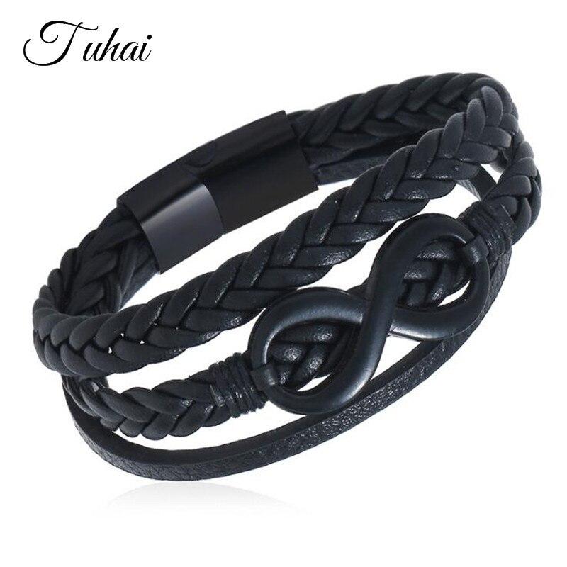[해외]Vintage Punk Style Stainless Steel Infinity Charms Bracelets Lucky Black Multi-layer Braided Leather Bracelet Trendy Jewelry/Vintage Punk Style St