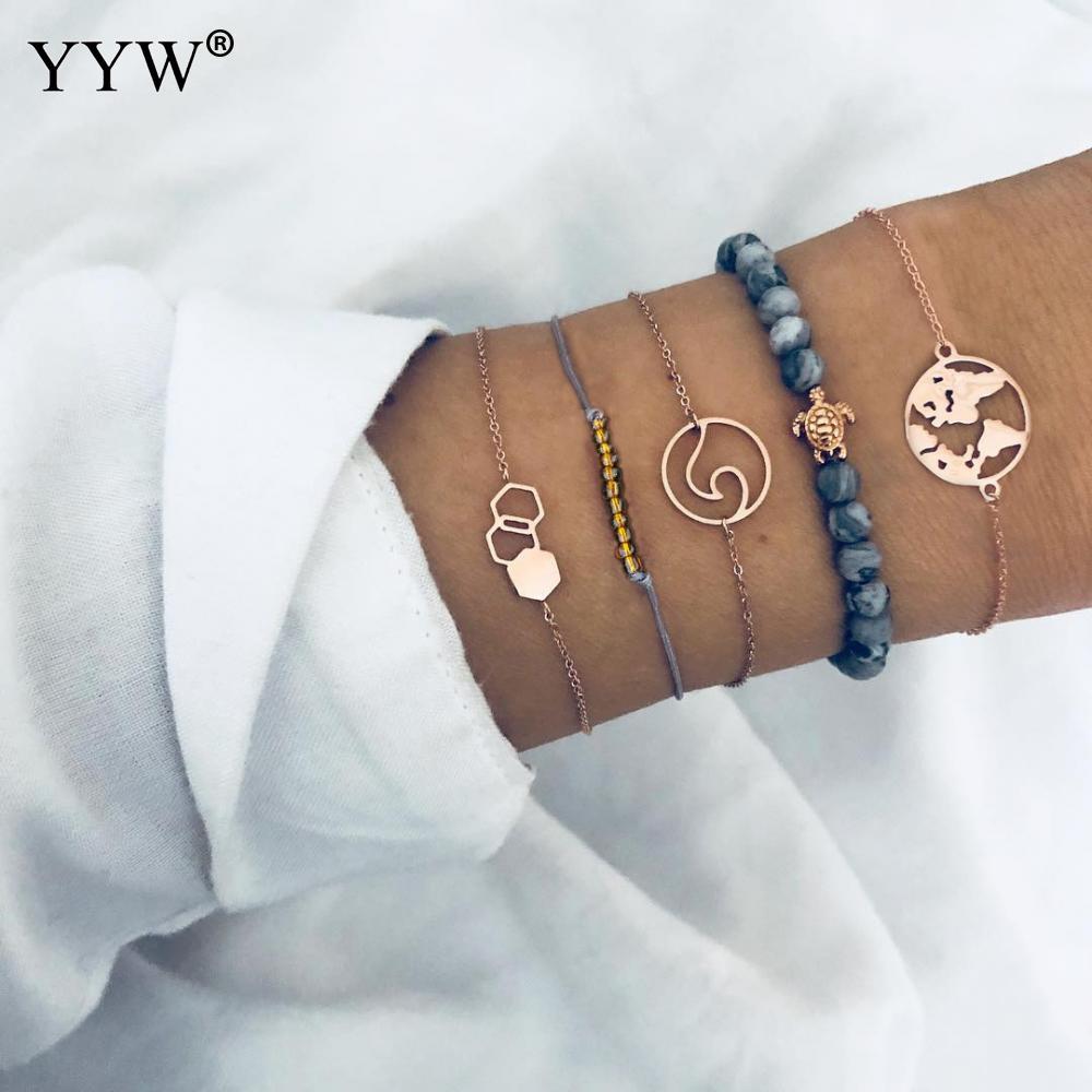 [해외]Punk Hot Jewelry Bracelet Set Designer Jewelry Hollow Geometry Charm Bracelets Stone Beaded Bracelet For Women Chain Wristband/Punk Hot Jewelry Br