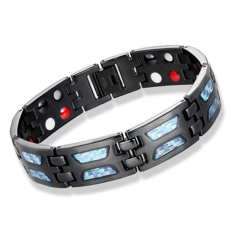 [해외]2019 Double Row 4 IN 1Negative ion Germanium Blue Bracelet for Man Titanium Carbon Fiber Bracelets Bangles Gift/2019 Double Row 4 IN 1Negative ion