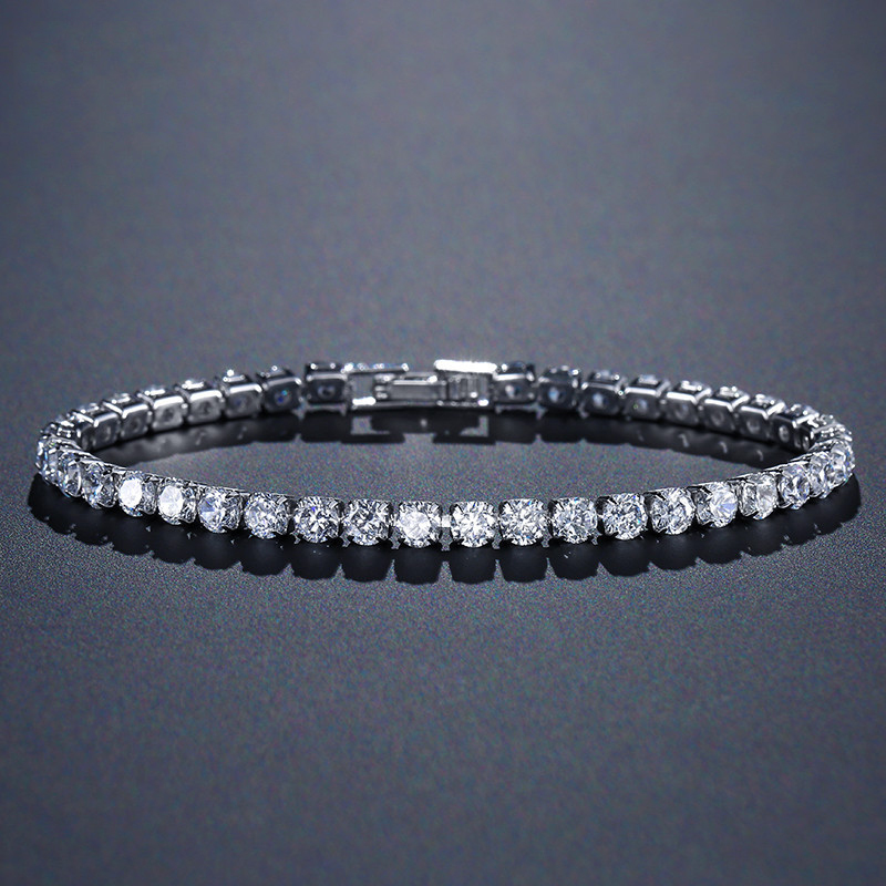 [해외]solid 925 sterling silver 4mm 18cm CZ tennis bracelet bangle for women wedding fashion jewelry whole party gift S4777/solid 925 sterling