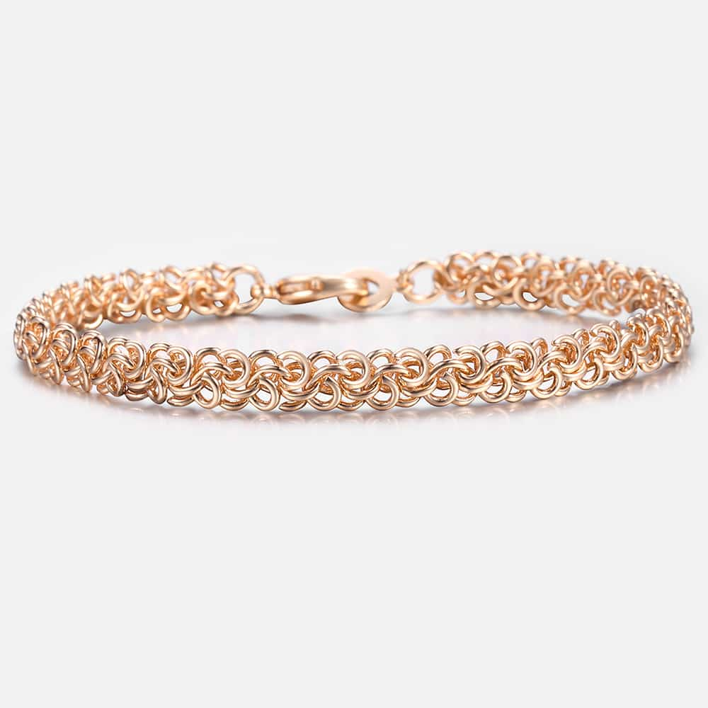 [해외]Bracelets For Women Men 585 Rose Gold Swirl Link Chain Bracelet 2018 Mens Woman Jewelry Fashion Gifts  6mm KCB09/Bracelets For Women Men