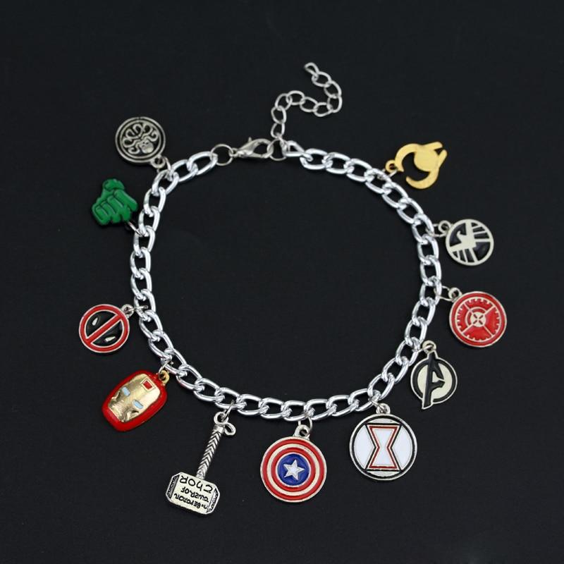 [해외]마블 어벤져 스 슈퍼 히어로 캡틴 아메리카 아이언 맨 토르 에나멜 매력 팔찌/Marvel Avengers Super Heroes Captain America Ironman Thor Enamel Charm Bracelet