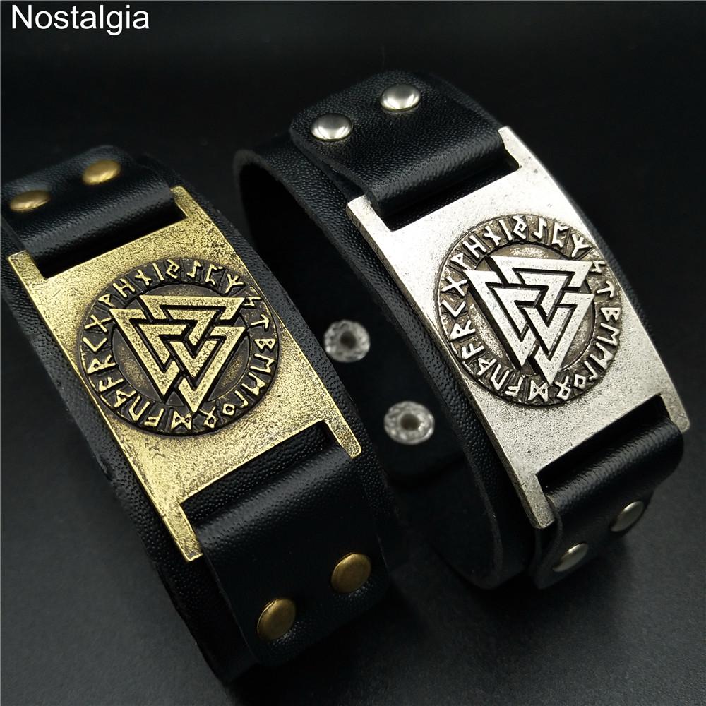 [해외]Nostalgia Valknut Symbol Nordic Runes Viking Bracelet Men Vikingo Leather Cuff Bracelets For Women/Nostalgia Valknut Symbol Nordic Runes Viking Br
