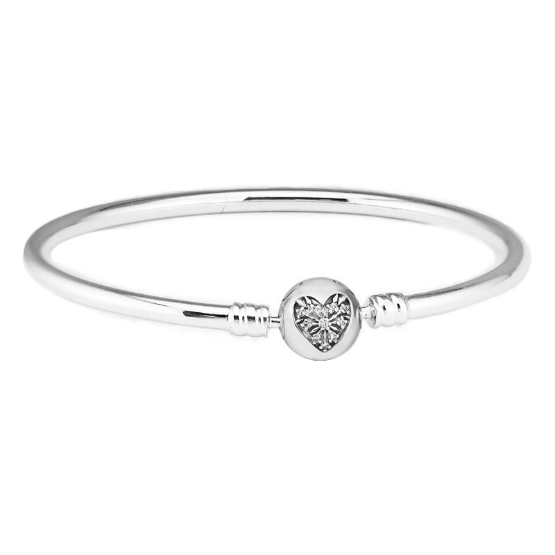 [해외]FANDOLA Bangles Silver 925 Jewelry Moments Silver BangleHeart of Winter Clasp Luxury Brand Bracelets Bangles for Women/FANDOLA Bangles Silver 925