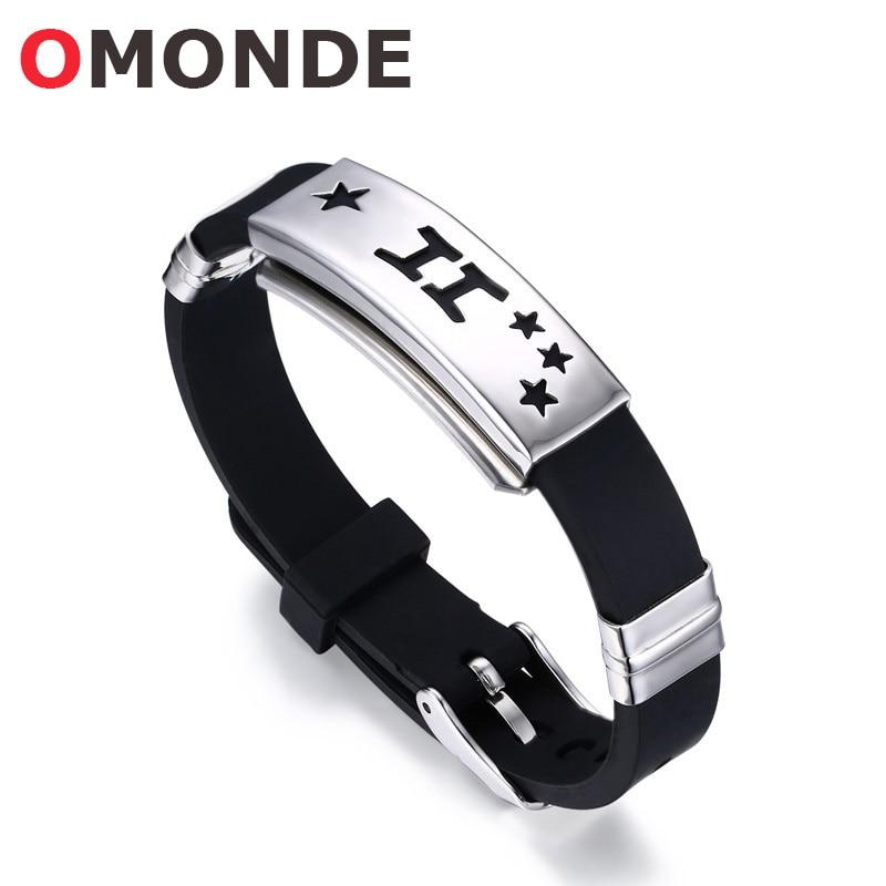 [해외]OMONDE Silicone Zodiac Bracelet & Bangles Aquarius Pisces Aries Taurus Gemini Cancer Leo Wristband Adjustable for Men Women/OMONDE Silicone Zo