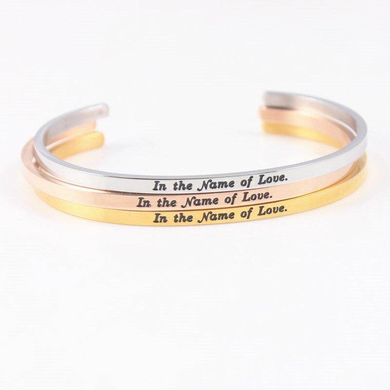 [해외]In the name of Love Stainless Steel Bangle Engraved Positive Inspirational Quote  Cuff Mantra Bracelets For Women /In the name of Love Stainless S