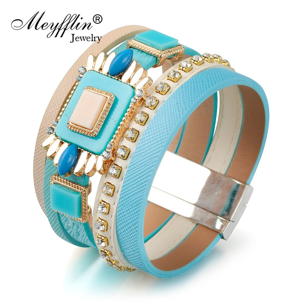 [해외]Meyfflin Women Men Magnetic Bracelet Jewelry Fashion Punk Resin Stone Width Wrap Leather Bracelets & Bangles Party Bijoux Gift/Meyfflin Women