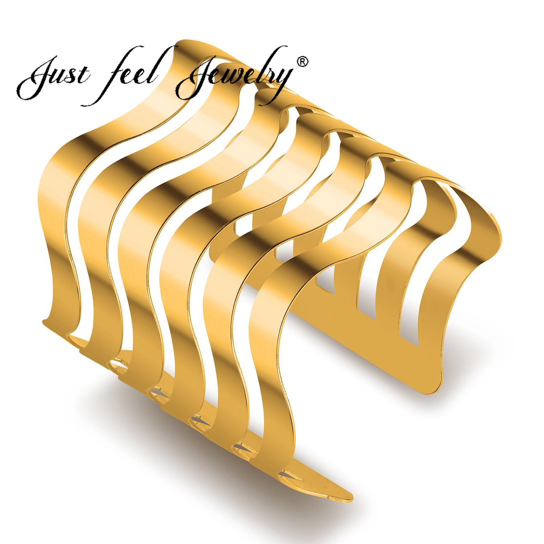 [해외]JUST FEEL New Dubai Classic Opening Wide Big Cuff Bracelet Fashion Punk Multilayer Maxi Bracelets & Bangles For Women Jewelry/JUST FEEL New Du