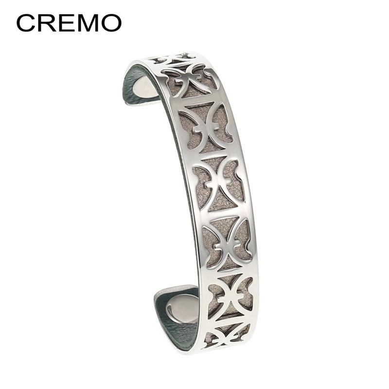 [해외]Cremo Aries Cuff Leather Bangles Stainless Steel Bracelets Bijoux Femme Interchangeable Reversible Arm Opening Bangle Pulseira/Cremo Aries Cuff Le