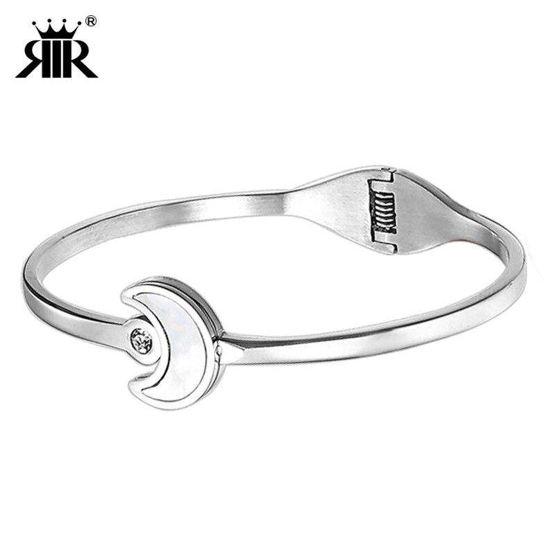 [해외]RIR New Arrived Bracelets Silver Stainless Steel Fashion Moon ShapeCrystal Round Bangle For Women Jewelry Gifts /RIR New Arrived Bracelets Silver