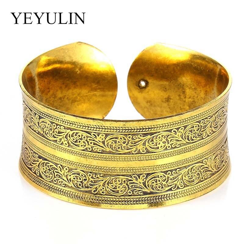 [해외]Trendy  Golden Cuff Bangle Best Gift For Women Men Open Circle Bracelet Fit Birthday Festival Party Bling Jewelry/Trendy  Golden Cuff Bangle Best