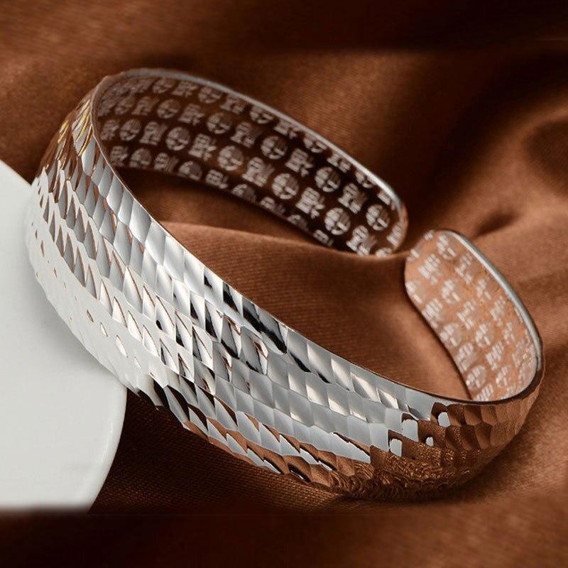[해외]Silver Plated Bracelet Bangles for Women Wide Ripple Bangle Pure Copper Fashion in 2018 Cheap Price DIY Mirror Fitness Lobster/Silver Plated Brace