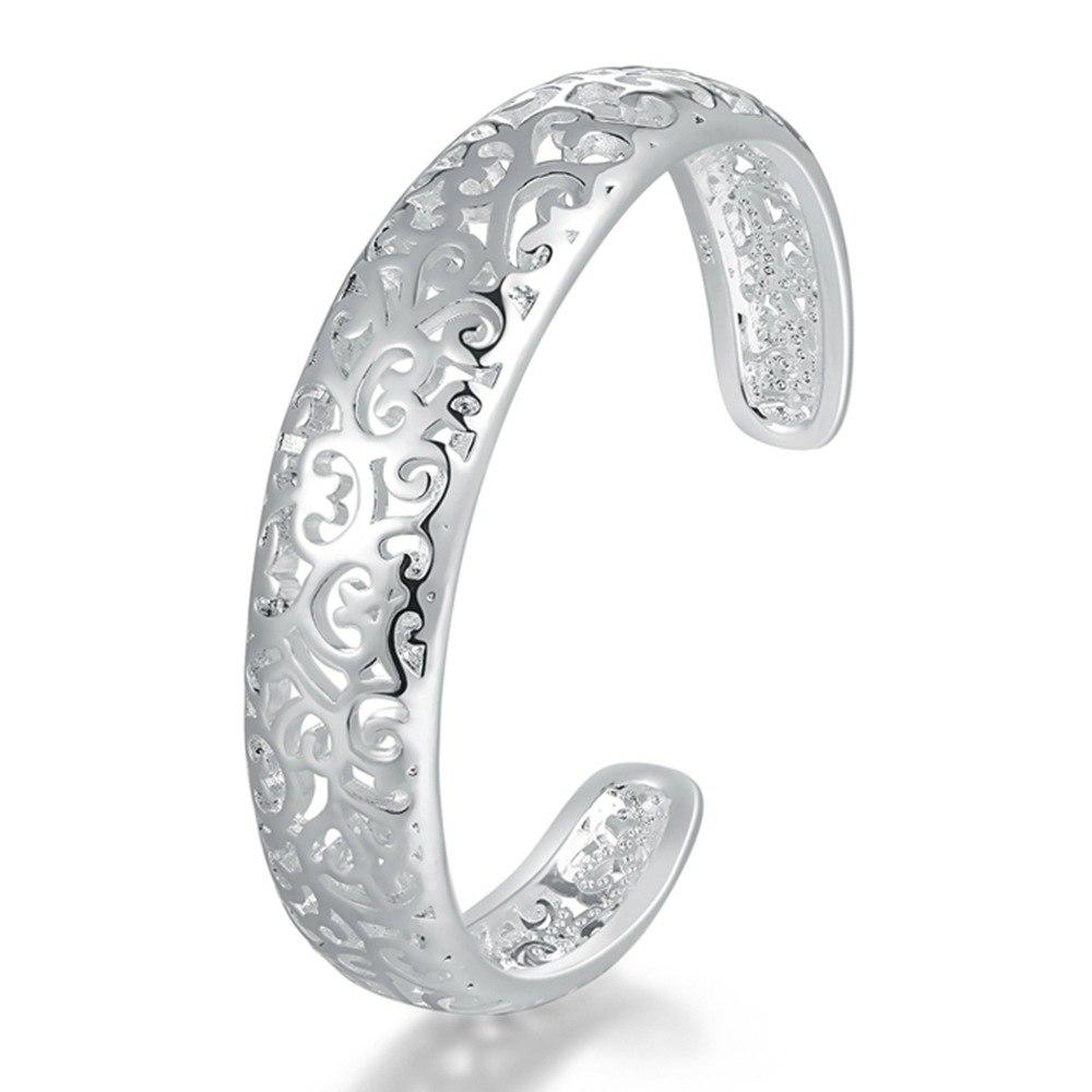[해외]Vintage 2pcs Hollow Flower Cuff Alloy Silver Bracelet Women Ladies Bangle Jewelry for Wedding Party Gift/Vintage 2pcs Hollow Flower Cuff Alloy Sil