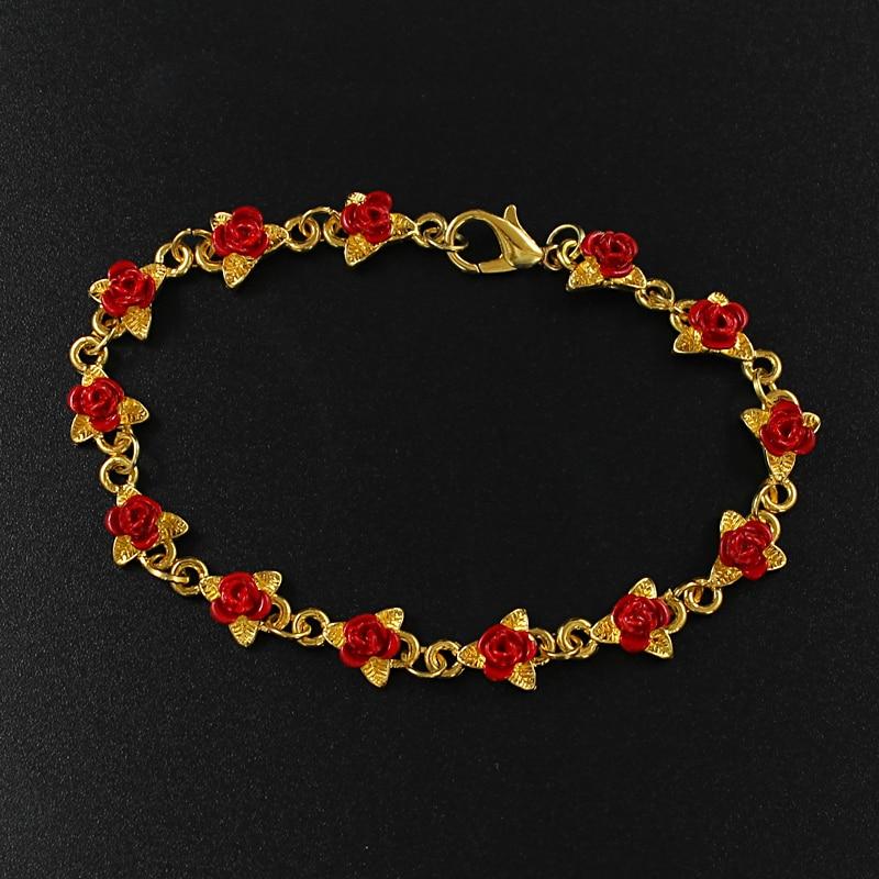 [해외]Red rose golden leaf Personality design Rose connection bracelet Women`s elegant glamour jewelry Valentine`s Day Fashion Gifts/Red rose golden lea