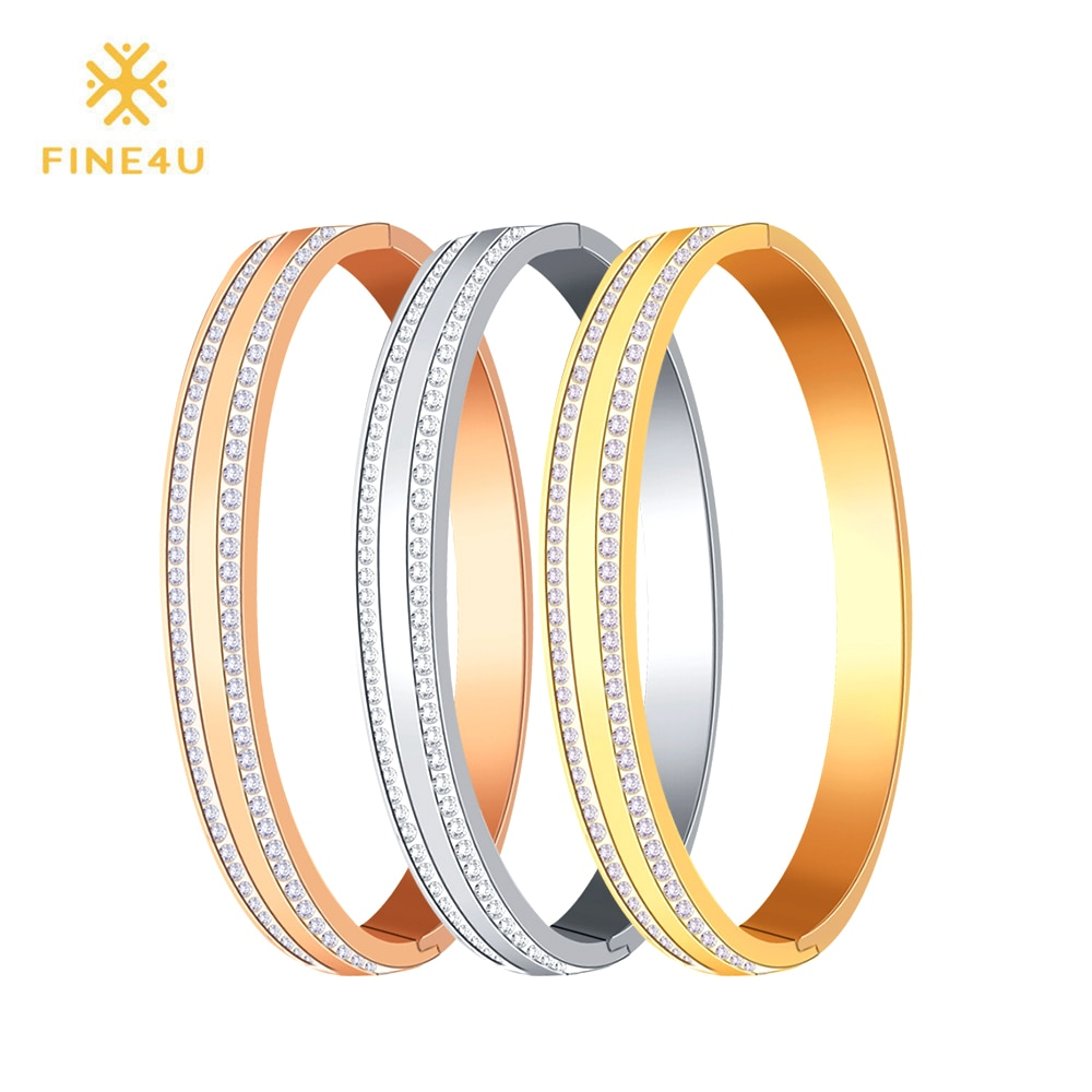[해외]2018 New FINE4U B048 316L Stainless Steel Cuff Bracelet For Women Cubic Zirconia Bracelets & Bangles 3 Colors Choices/2018 New FINE4U B048 316