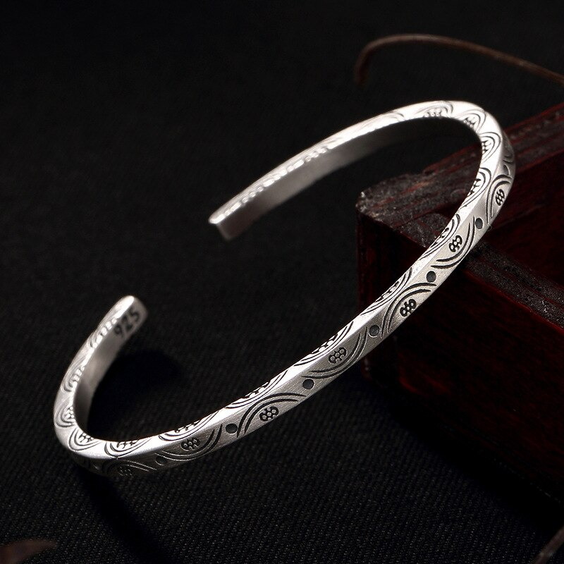[해외]Luxury 100% genuine 925 Sterling Silver retro vintage bangles for women Silver Jewelry s925 silver flower bracelet female girls/Luxury 100% genuin