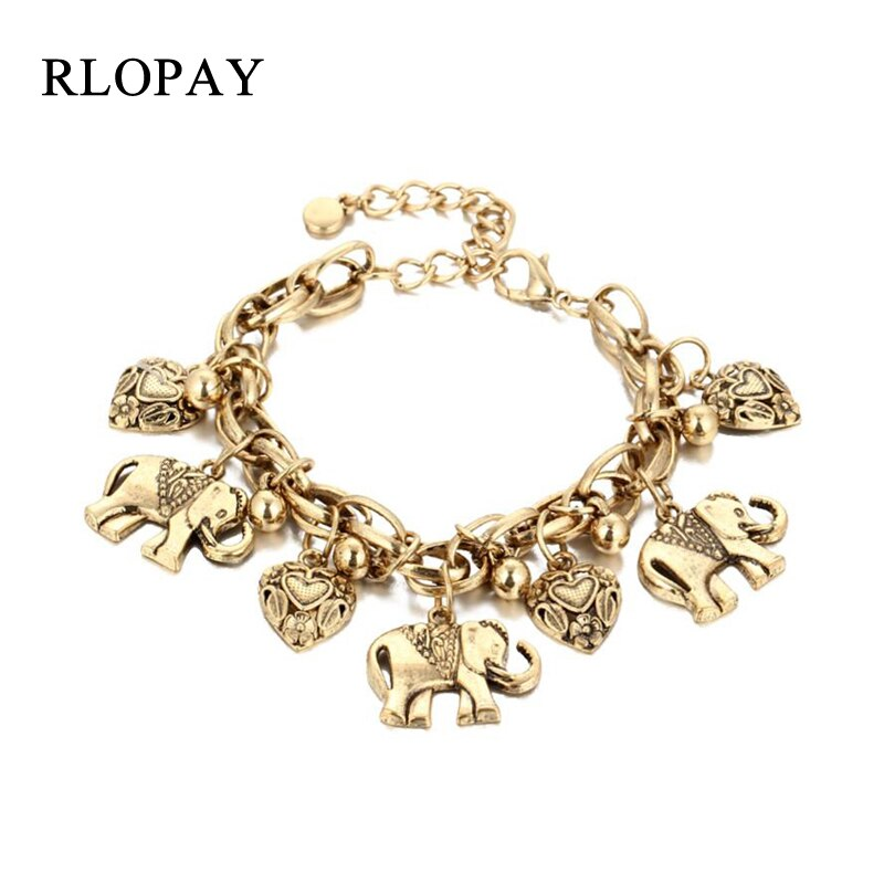 [해외]RLOPAY Vintage Jewelry Fashion Bracelets Women Elephant Heart Pendant Leaf Pulseira Alloy Bohemian for Women Silver Gold Color/RLOPAY Vintage Jewe