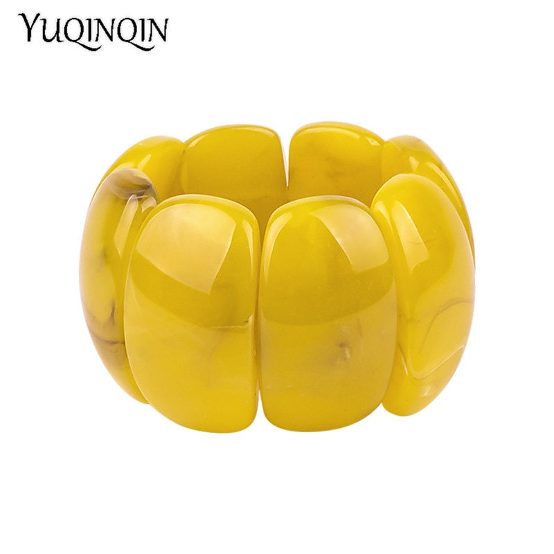 [해외]Classic Resin Cuff Fashion Big Bracelets Bangles for Women Stretch Acrylic Wide Geometric Bracelets Female Charm Simple Jewelry /Classic Resin Cuf