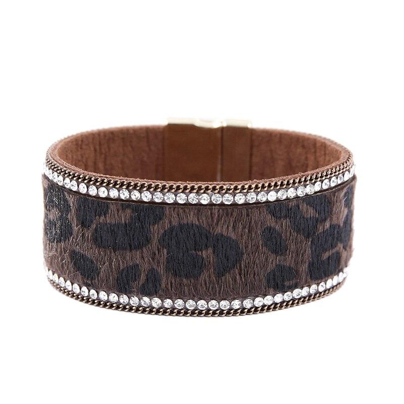[해외]Leopard Bracelet For Women Bohemia Wide Magnetic Leather Bracelets Femme Rhinestone Bangles Wristband Jewelry/Leopard Bracelet For Women Bohemia W