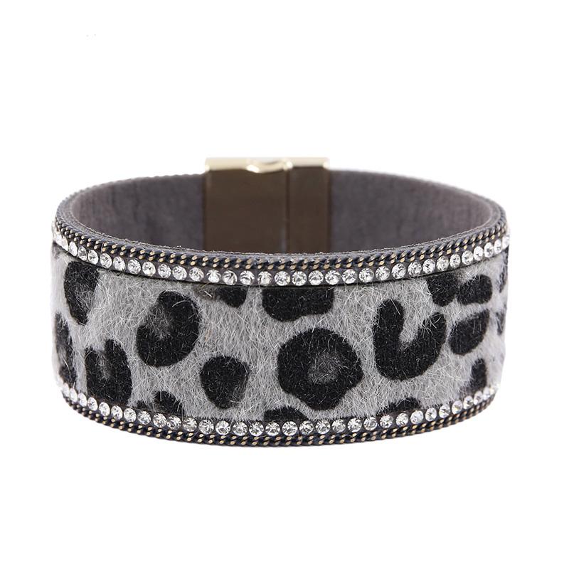 [해외]Bohemia Leather Bracelet For Women Leopard Wide Bracelets&Bangles Magnetic Clasp Rhinestone Wristband armbanden voor vrouwen/Bohemia Leather B