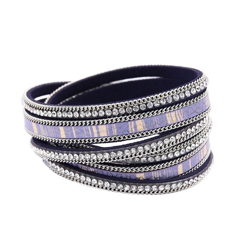 [해외]Charm Bracelets For Women Multi-Layer Rhinestone Wristband Leather Bracelet femme Clasp White  pulseiras Fashion Jewelry /Charm Bracelets For Wome