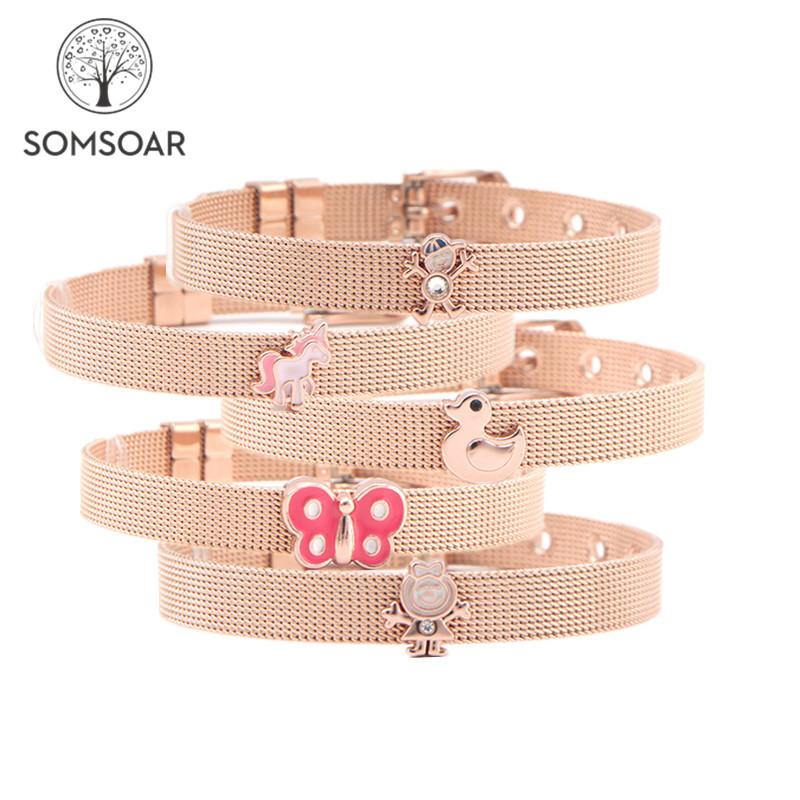 [해외]Somsoar Jewelry Rose Gold DIY Slide Charms Stainless Steel Mesh Bracelet Bangles for Valentine`s Day Gift/Somsoar Jewelry Rose Gold DIY Slide Char